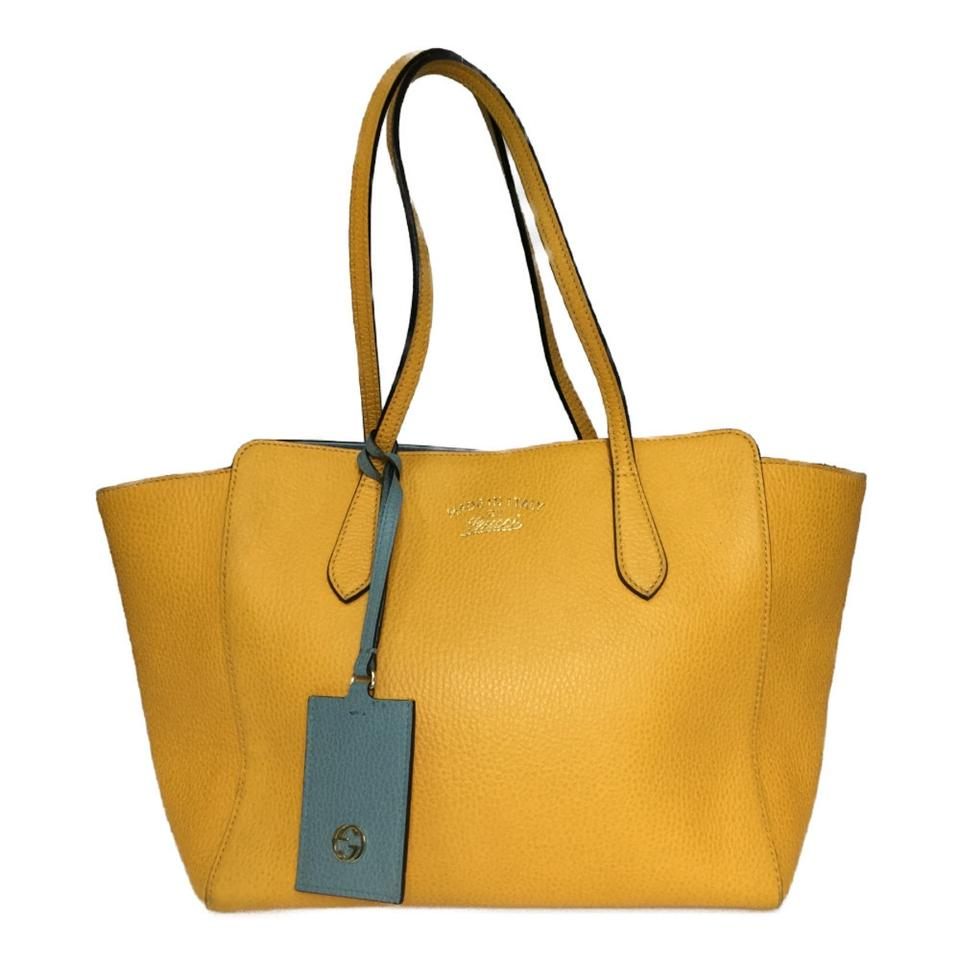 Gucci Bag Swing 354408 Women S Canvas Yellow Leather Tote