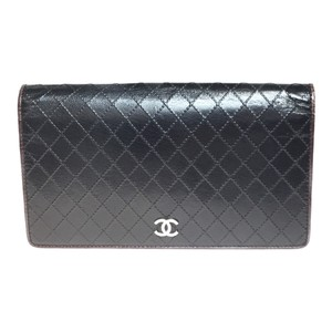 Chanel Auth Chanel Bicolor A33911 Leather Long Wallet (bi-fold) Black Bordeaux