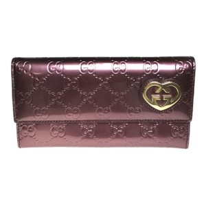 Gucci Auth Gucci 251861 GG Lovely line Long Wallet (bi-fold) Patent leather