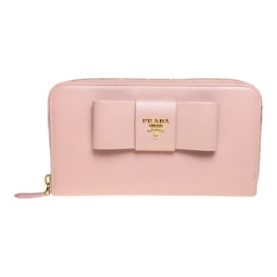 best loved new specials factory price Prada Pink Long 1m0506 Saffiano Fiocco (Bi-fold) Orchidea Wallet