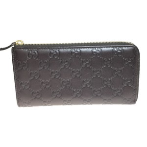 Gucci Auth Gucci 332747 Leather Long Wallet (bi-fold) Dark Brown