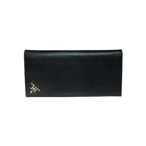 Prada Auth Prada 2M0836 Saffiano Metal Leather Long Wallet (bi-fold) Nero