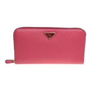 Prada Auth Prada Saffiano 1ML506 Zip Wallet Leather Long Wallet (bi-fold) Peonia