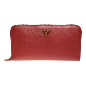Prada Auth Prada SAFFIANO TRIANG 1ML506 Long Wallet (bi-fold) Red