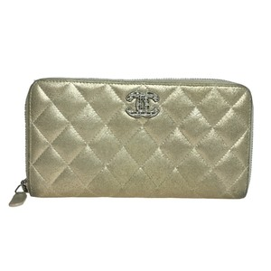 Chanel Auth Chanel A80003 Matelasse Chain Me Long Wallet (bi-fold) Metal Gold