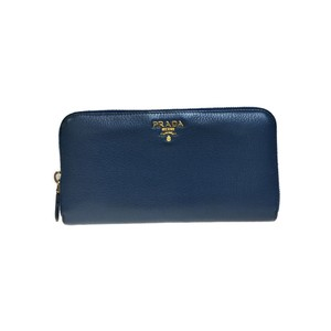 Prada Auth Prada Saffiano 1ML506 Long Wallet (bi-fold) Blue