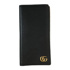 Gucci Auth Gucci 436023 Leather GG MarmontLong Bill Wallet (bi-fold) Card case Black