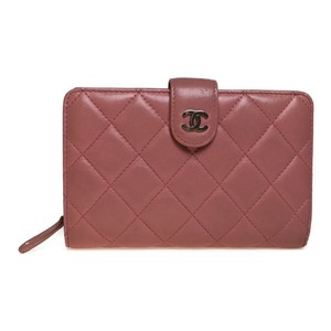 Chanel Auth Chanel Matelasse Coco Mark Middle Wallet (bi-fold) Lamb skin Pink