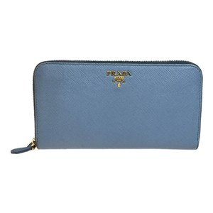 Prada Auth Prada Saffiano 1ML506 Leather Long Wallet (bi-fold) Astrale,Light Blue Gray