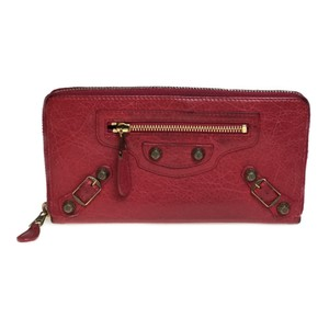 Balenciaga Balenciaga 253053 Giant Continental Leather Long Wallet (bi-fold) Red