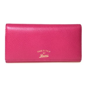 Gucci Auth Gucci 354498 Swwing Continental Leather Long Wallet (bi-fold) Pink Rose Pink
