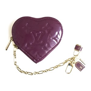 Louis Vuitton Auth Louis Vuitton Monogram Vernis M93563 Porto Monet Cool Vernis Coin Purse coin Case Violet