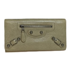 Balenciaga Balenciaga Giant Continental 253054 Women's Leather Long Wallet (bi-fold) Beige