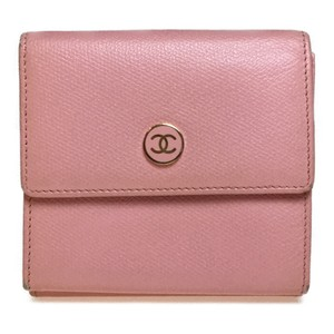 Chanel Chanel Coco Button Leather Middle Wallet (bi-fold) Light Pink