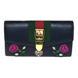 Gucci Auth Gucci 476084 Silvi Continental Wallet Leather Long Wallet (bi-fold) Navy