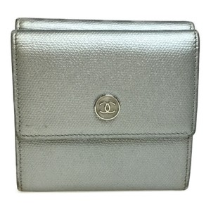 Chanel Auth Chanel Coco Button A20902 Leather Long Wallet (bi-fold) Silver