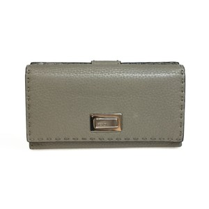 Fendi Auth Fendi Selleria 8M0308Peekaboo Wallet Leather Long Wallet Gray Beige