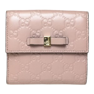 Gucci Auth Gucci Guccissima 406925 GG Leather Middle Wallet (bi-fold) Pink,Pink Beige