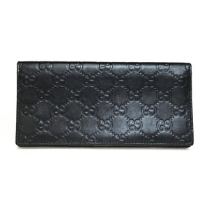 Gucci Auth Gucci Guccissima 181715 Leather Long Wallet (bi-fold) Black