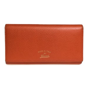 Gucci Auth Gucci 354498 Swwing Continental Leather Long Wallet (bi-fold) Orange,Rose Pink