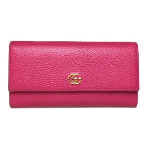 Gucci Auth Gucci 456116 Petit Marmont Leather Long Wallet (bi-fold) Pink