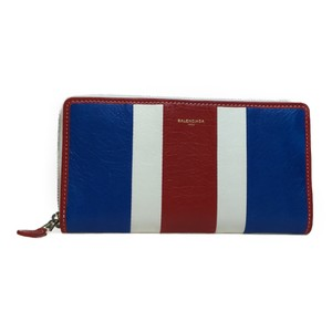 Balenciaga Auth Balenciaga 443655 Continental Bazaar Leather Long Wallet (bi-fold) Blue,Red,White
