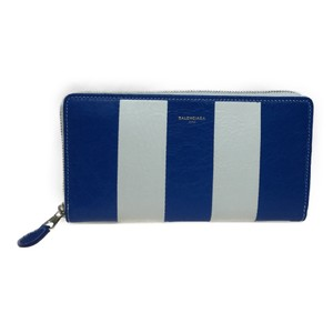Balenciaga Auth Balenciaga 443655 Continental Bazaar Leather Long Wallet (bi-fold) Blue,White
