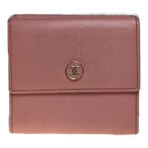 Chanel Chanel Coco Button A20902 Leather Middle Wallet (bi-fold) Light Pink