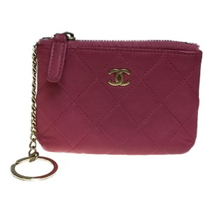 Chanel Auth Chanel Matelasse A69253 Pouch Lambskin Coin Purse/coin Case Pink