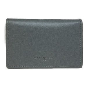 Balenciaga Auth Balenciaga 440620 Leather Card Case Gray
