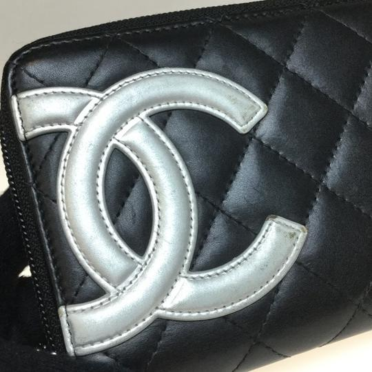 Chanel Auth Chanel Leather Long Wallet (bi-fold) Black Image 1