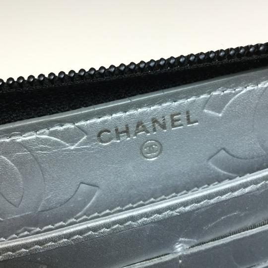 Chanel Auth Chanel Leather Long Wallet (bi-fold) Black Image 11