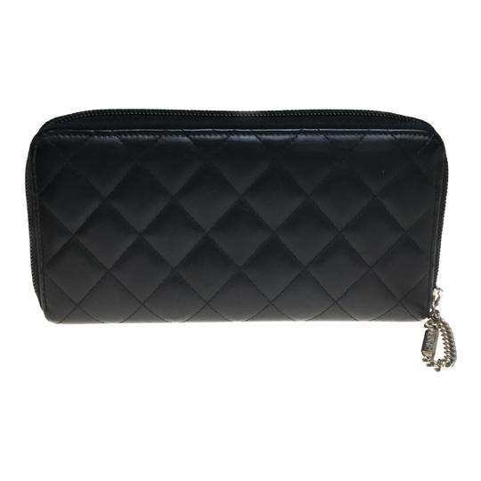 Chanel Auth Chanel Leather Long Wallet (bi-fold) Black Image 6