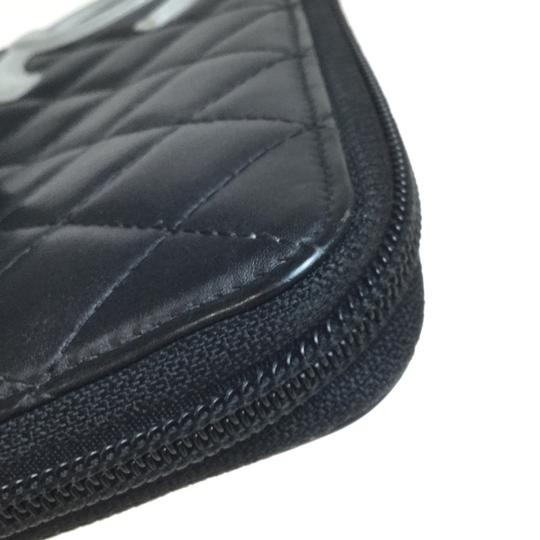 Chanel Auth Chanel Leather Long Wallet (bi-fold) Black Image 8