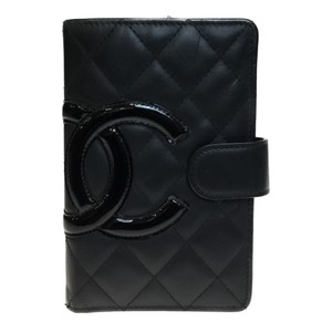 Chanel Auth Chanel Cambon A50080 Leather Middle Wallet (bi-fold) Black,Pink
