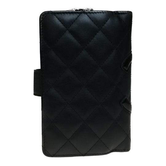 Chanel Auth Chanel Cambon A50080 Leather Middle Wallet (bi-fold) Black,Pink Image 6