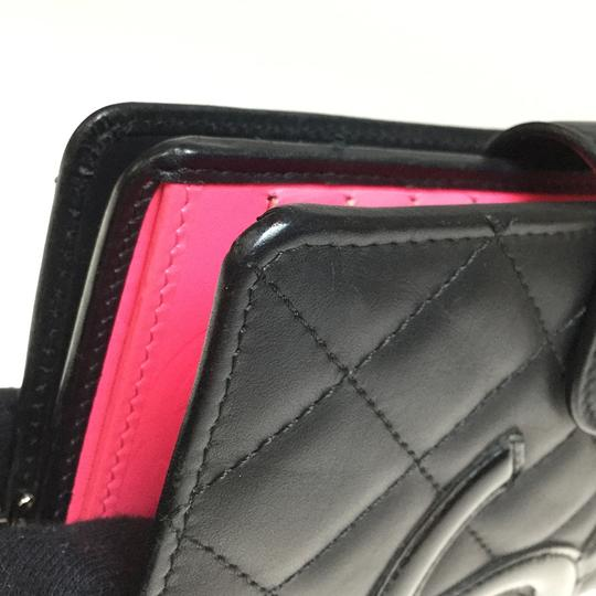 Chanel Auth Chanel Cambon A50080 Leather Middle Wallet (bi-fold) Black,Pink Image 9