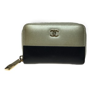 Chanel Auth Chanel A81110 Leather Coin Purse/coin Case Black,Gold