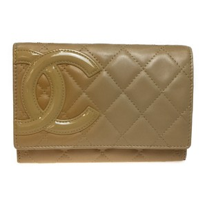 Chanel Auth Chanel Cambon A26722 Leather Middle Wallet (bi-fold) Beige,Orange