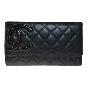 Chanel Auth Chanel Cambon A46645 Unisex Long Wallet (tri-fold) Black,Pink