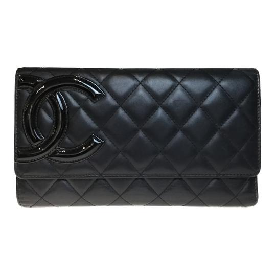 Chanel Auth Chanel Cambon A46645 Unisex Long Wallet (tri-fold) Black,Pink Image 0