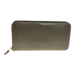 Hermès Auth Hermes Leather Long Wallet (bi-fold) N Engraving Gray Brown
