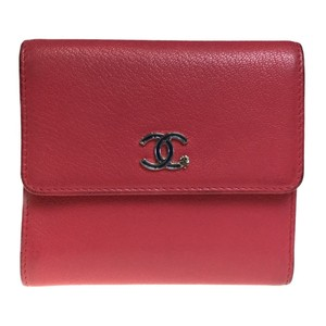 Chanel Chanel A84201 Lucky Clover Leather Middle Wallet (tri-fold) Pink/Rose Pink