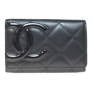 Chanel Chanel A50081 Leather Card Case Black/Pink Cambon Line
