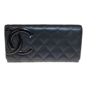 Chanel Auth Chanel Leather Long Wallet (bi-fold) Black
