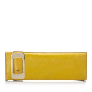 Gucci 8bgucl002 Vintage Patent Leather Gold Clutch