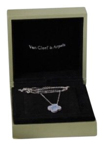 Van Cleef & Arpels Vintage Alhambra VCA Chalcedony Clover Charm Necklace White Gold