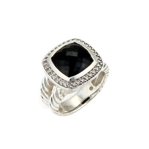 David Yurman Albion Diamond Onyx Sterling Silver 11mm Band Ring