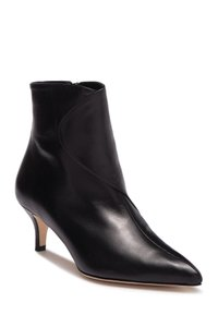 Bettye Muller Wedge Moto Biker BLACK LEATHER Boots