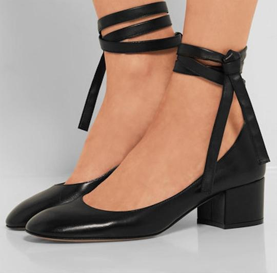 Gianvito Rossi Leather Ankle Wrap Work Classic Black Pumps Image 11